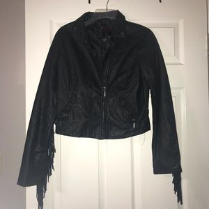 Black Leather Jacket with Tassels